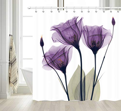 NYMB Elegant Tulip Purple Flower Shower Curtain, Violet Floral Decor Giclee Prints Artwork Modern Home Decorations, Waterproof Polyester Fabric Shower Curtains for Bathroom, Hooks Included, 69X70 in