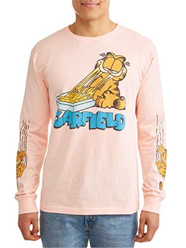 Garfield Men's Jim Davis Stay Hungry Lasagna Long Sleeve Tee T-Shirt (Medium (38-40)) Pink]()