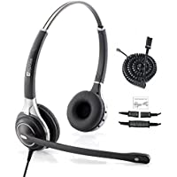 TruVoice Premium Double Ear Ultra Noise Canceling Call Center/Office Headset & Cable For Cisco IP Phones 7931G 7940 7941 7942 7945 7960 7961 7962 7965 7970 and M12, M22 Amplifiers