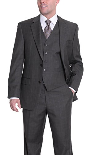Michael Kors Modern Fit Brown Plaid Two Button Three Piece Wool Suit