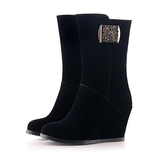 Imitated Heels 5 6 Womens Metalornament and US Wedge M Boots High Round Suede Black AmoonyFashion B with Solid Closed Toe 1qnYX