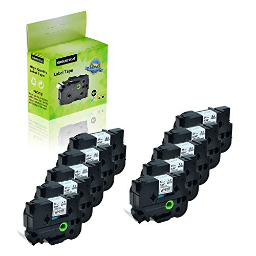 GREENCYCLE 10-Pack Compatible 1 Inch 24mm Black on White Cassettes TZe251 TZe-251 TZ-251 TZ251 Standard Laminated Label Tape for Brother P Touch PTD600 PTP750W PTP710BT PTP700 PTE500 PTE550W PT1400
