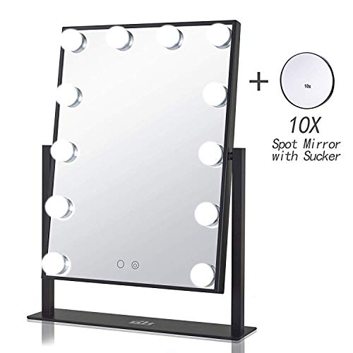 GeekHouse Lighted Vanity Mirror Hollywood Style Makeup Tabletops, Large Cosmetic Mirror with 12 x 3W Super Bright Dimmable Touch Control LED Bulbs, Black