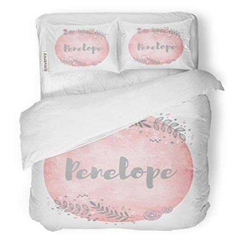 (SINOVAL Decor Duvet Cover Set King Size Pink Baby Girl Name Penelope Lettering Cute Floral Pattern Watercolor Tag 3 Piece Brushed Microfiber Fabric Print Bedding Set Cover)