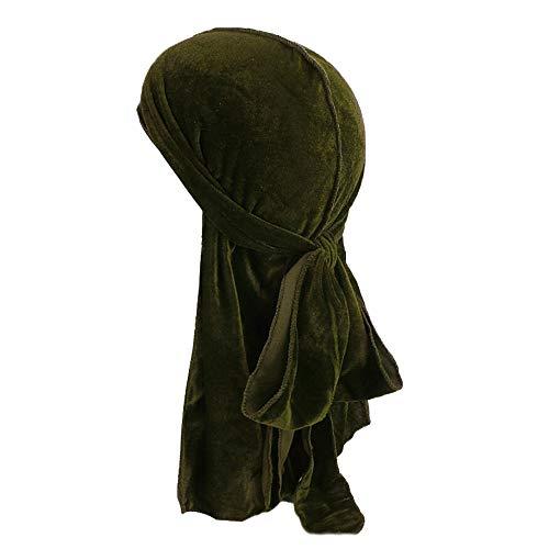 OutTop(TM) Women Muslim Hat Ladies Long Tail Pirate Hijab Velvet Turban Adjustable Cap Headwear (Army Green) (Wear Army Beret)