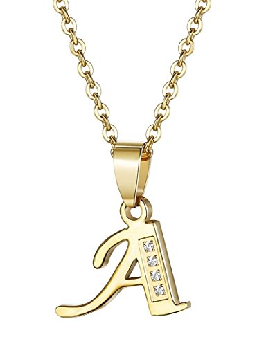 Udalyn stainless steel alphabet pendant necklace cz chain for men udalyn stainless steel alphabet pendant necklace cz chain for men women gold tone mozeypictures Images