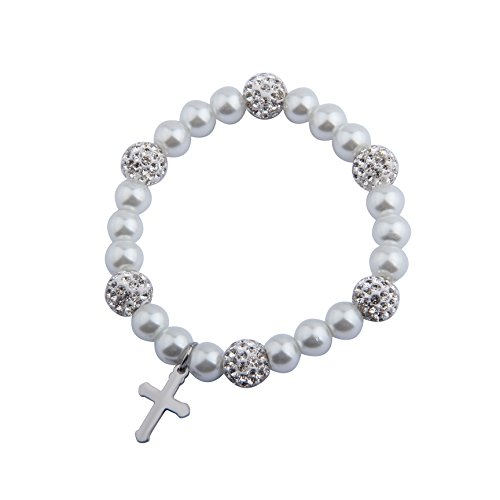 Cross Bracelet First Communion Gift Baby Baptism Jewelry Flower Girl Bracelet (Cross Pearl 7'') ()