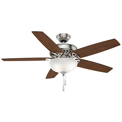 Casablanca 54023 Concentra Gallery 54-Inch 5-Blade Single Light Ceiling Fan, Brushed Nickel with Walnut/Burnt Walnut Blades and Cased White Glass Bowl Light