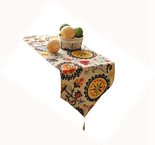 HomeyHo Decorate Table Runner for Kitchen Table Dinning Table Decorations Table Runner Rustic Chic Table Runner Outdoor Multi Color Table Runner Long Flower Table Runner, 12 x 55 Inch