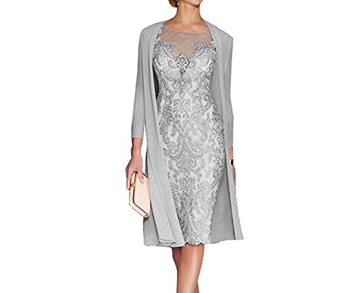APXPF Women's Mother Of The Groom Dresses Tea Length With Jacket Grey US12