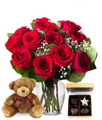 Flowers - 12 Red Roses Bundled with Godiva Chocolate & Teddy Bear (Free Vase Included)