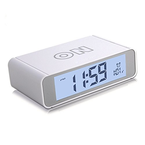 Alarm Clock Digital with Snooze/Light Battery Operated Flip Works for Heavy Sleepers Teens and Kids by UMIKAkitchen (White)