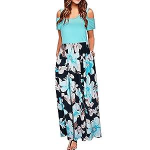 TnaIolral Women Dresses Cold Shoulder Pocket Floral Print Elegant Maxi Short Summer Sleeve Skirt Green