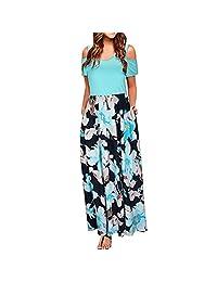 Summer Dresses,Women's Summer Boho Sleeveless Floral Print Tank Long Maxi Dress with Pocket