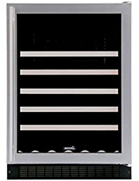 Marvel 61WCMBSGL Standard Efficiency Single Zone Wine Cellar with Left Hinge Frame Glass Door, 24, Stainless Steel