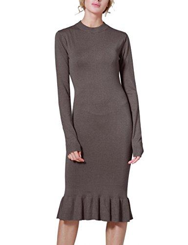 Rocorose Women's Sexy Bodyon Mermaid Mock Neck Long Sleeve Knit Dress Khaki S