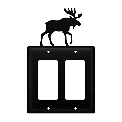 Iron Moose Double Modern Switch Cover - Black Metal