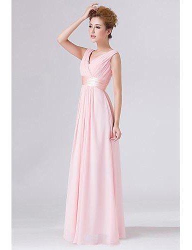 PU&PU Robe Aux femmes Swing Couleur Pleine V Profond / Surplis Maxi Mousseline de soie , pink-m , pink-m