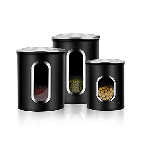 (Canisters Set, 3 Piece Window Kitchen Canister with Fingerprint Resistance Lids, Black)
