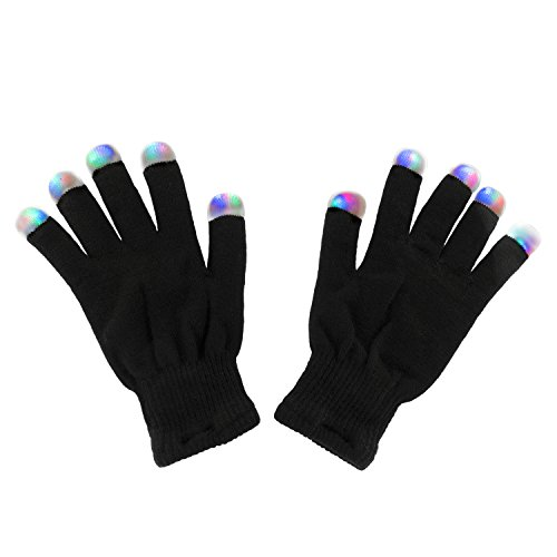 Black Knit Gloves LED Strobe Fingertips with 3 Colors for Light Shows, Raves, Concerts, Disco, Festival, Party Favors (1 Pair)