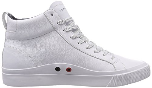 Leather 100 Homme White Baskets Detail Tommy Sneaker Hilfiger Flag Blanc Hautes High qvwnPIAn8