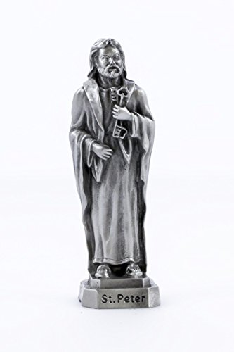 Pewter Catholic Saint St Peter Statue with Laminated Prayer Card, 3 1/2 Inch (Statue Saint Peter)