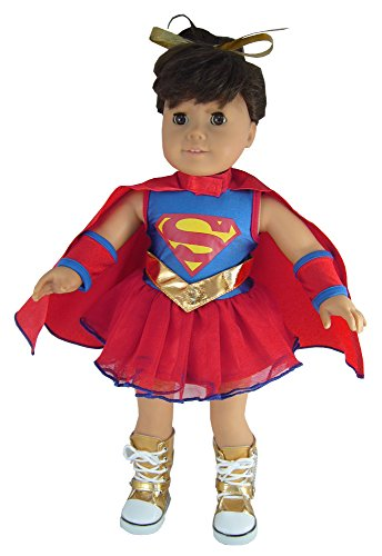 Super Girl Costume + Boots Outfit fits the American Girl Dolls