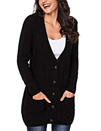 Levas Women Long Sleeve Front Pocket Buttons Closure Cardigan Casual (S-2XL)