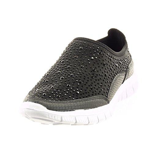 Sopily - Scarpe da Moda Sneaker slip-on alla caviglia donna strass pelle di serpente Tacco a blocco 2 CM - soletta tessuto - Nero
