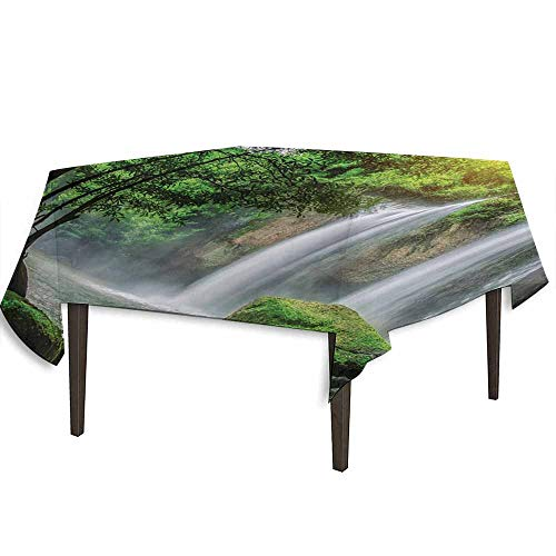 kangkaishi Waterfall Waterproof Anti-Wrinkle no Pollution Cascade Stream in Exotic North Asian National Park Paradise Nature Surreal Print Outdoor Picnic W70 x L70 Inch White Green -