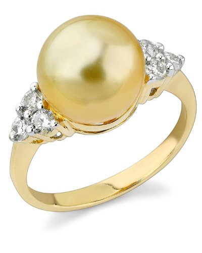 THE PEARL SOURCE 14K Gold 10-11mm Round Genuine Golden South Sea Cultured Pearl & Diamond Sea Breeze Ring for Women