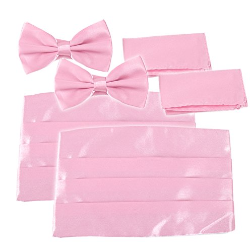 HDE 2 Pack Solid Color Poly Satin Tuxedo Accessory Set - Matching Pre-Tied Bow Tie, Cummerbund & Pocket Square (Pink)