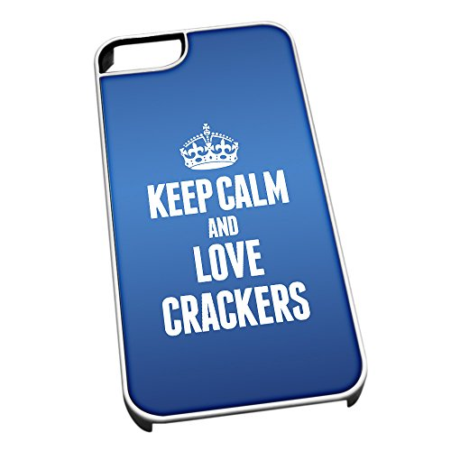 Bianco cover per iPhone 5/5S, blu 1003 Keep Calm and Love cracker