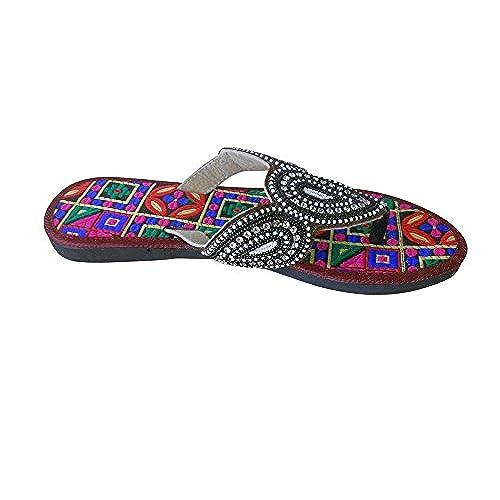 kalra Creations Femme en Cuir traditionnel indien Tongs