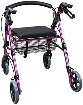 カート・ワゴン ウォーカー折りたたみ軽量オールドウォーカートロリー軽量滑り止めウォーキング多機能障害ウォーカー (Color : Purple, Size : 61*68*78-90cm)