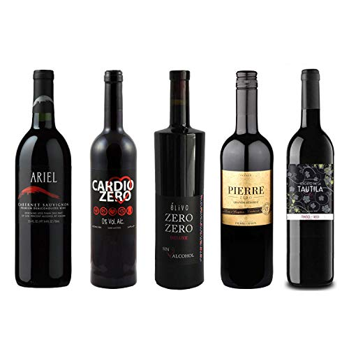Red Wine Sampler - Five (5) Non-Alcoholic Wines 750ml Each - Featuring Ariel Cabernet Sauvignon, Cardio Zero Red, Zero Zero Deluxe Red, Grande Reserve Rouge, and Tautila Tinto