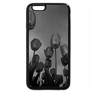 iPhone 6S Plus Case, iPhone 6 Plus Case (Black & White) - Dark Blue Tulips