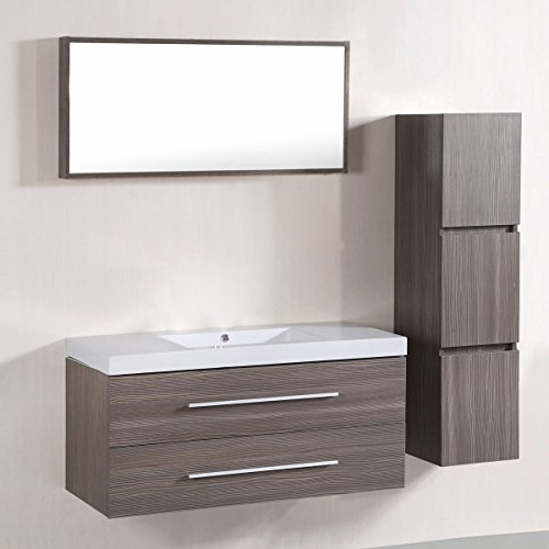 Decoraport 40 In. Wall Mount Bathroom Vanity Set with Single Sink and Mirror (A-T5167A) by Decoraport