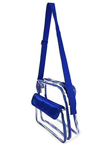 - Football Event Stadium Approved Clear Messenger Bag Clear Shoulder Bag Transparent Purse with Adjustable Strap (Blue)