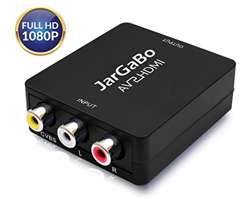 JarGaBo Mini RCA Composite CVBS AV to HDMI Converter 1080P Adapter for TV/PC/PS3/Blue-Ray DVD, Black