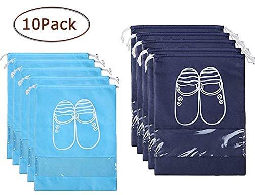 Mikicat Portable Travel Shoe Bags Dust-Proof Drawstring Window Design Water-Resistant Shoe Storage Bags (Drawstring)