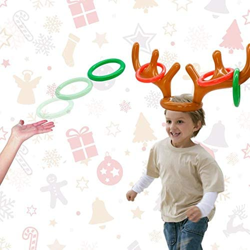Christmas Party Game Antler Ring Toss Game Inflatable Reindeer Antler Ring Toss Game for Christmas Party,2Antler and 8 Rings Yellow