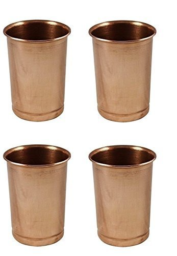 Christmas Gift/Christmas Sale Glass -Set of 4 Pure Copper Tumblers Ayurvedic Water Drinking Glasses Serveware drinkware, Capacity 350 Ml for Ayurvedic Health Benefits. For Home, kitchen, Restaurants. ()