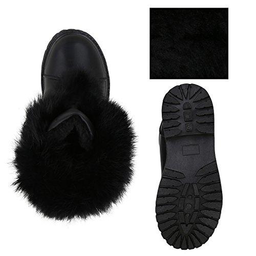 Stiefelparadies Kinder Winter Boots Warm Gefütterte Stiefeletten Kunstfell Schuhe Flandell Schwarz Metallic