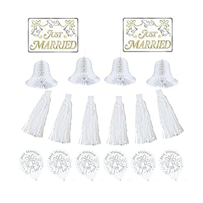 Amscan Classic Tassels and Honeycomb Bells Wedding Car Decorating Party Kit, 1 pieces, White: Kitchen & Dining