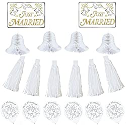Classic Tassels and Honeycomb Bells Wedding Car Decorating Party Kit, Paper, Pack of 18