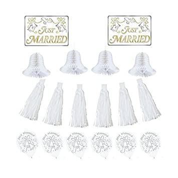 Amazon classic tassels and honeycomb bells wedding car classic tassels and honeycomb bells wedding car decorating party kit paper pack of 18 junglespirit Images