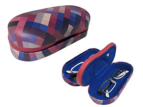 - Dual Glasses Case for Two Frames - Double Layer Clamshell Hard Protective Case with Soft Felt Interior with Built-In Mirror - Multi-Color Criss-Cross Print with Matte Finish - By OptiPlix