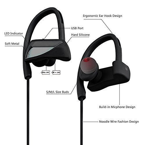 Bluetooth Headphones, IPX7 Waterproof Wireless Sports Earphones with w/Mic HD Stereo Earbuds Workout 8 Hour Battery Noise Cancelling for Running Or Gym Workout Gift delicate