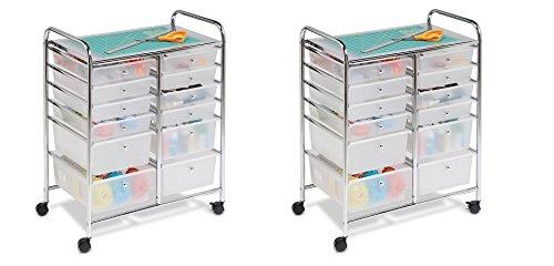 Honey-Can-Do CRT-01683 12 Drawer Chrome Studio Organizer Cart (2-Cart's) by Honey-Can-Do